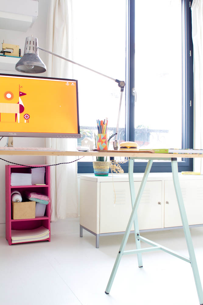 Vert cerise - mon bureau de blogueuse Ikéa à 13 euros